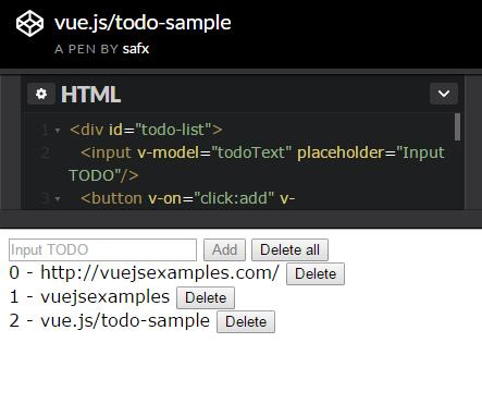simple todo sample with vue.js