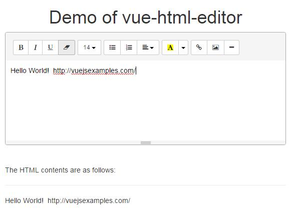 A Vue js component implementing the HTML editor