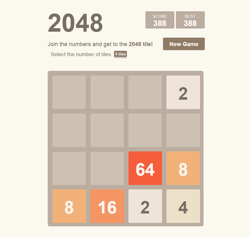 The 2048 game in Vue.js