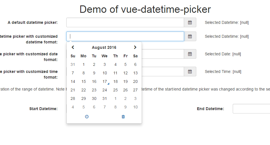 A Vue.js component implementing the datetime picker