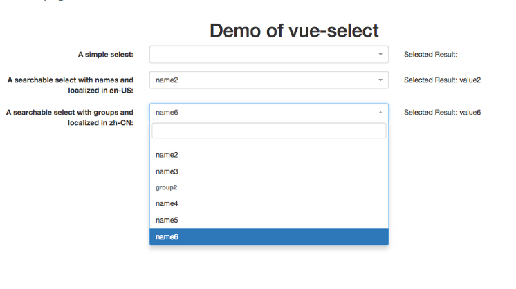 A Vue.js component implementing the select control