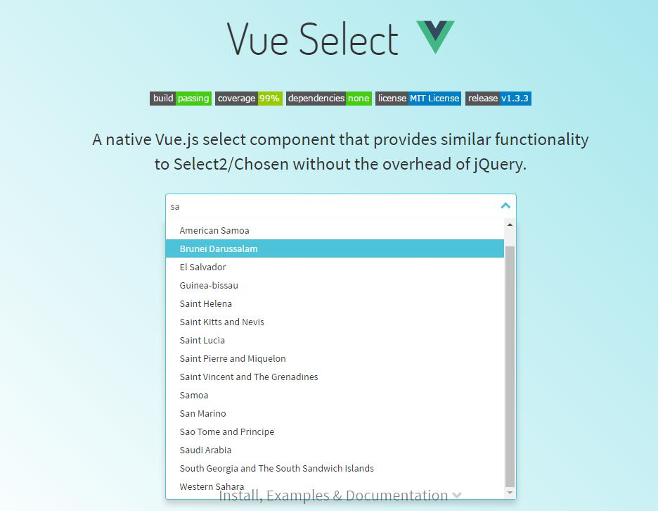 Vue Select : A native Vue.js select component