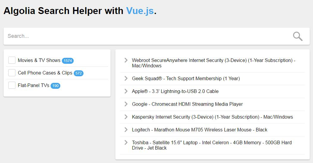 Algolia Search Helper with Vue.js
