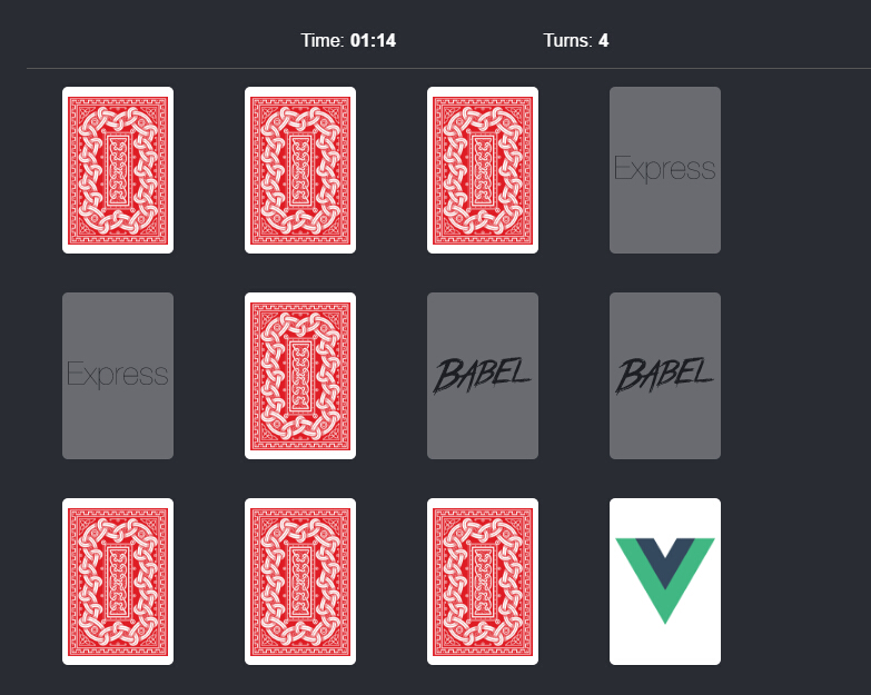 Memory card game with VueJS