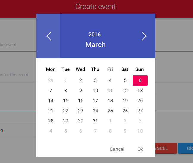 Calendar Design Javascript : Calendar and datepicker component with material design for