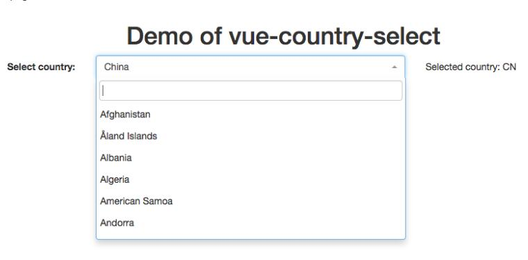 Country select Vue.js component implementing