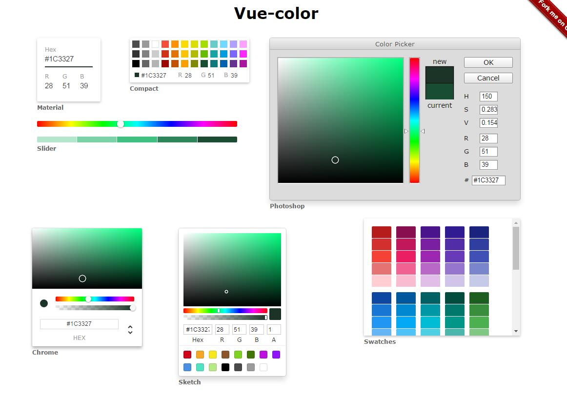 Color Pickers for Sketch, Photoshop & more with Vue.js
