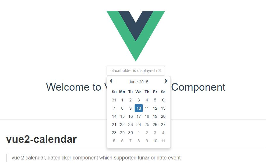 vue 2 calendar : datepicker component which supported lunar or date event