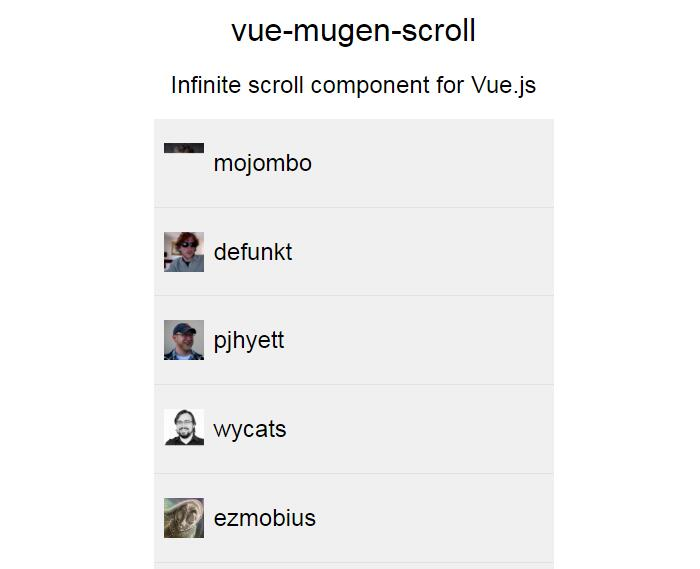 Infinite scroll component for Vue.js 2