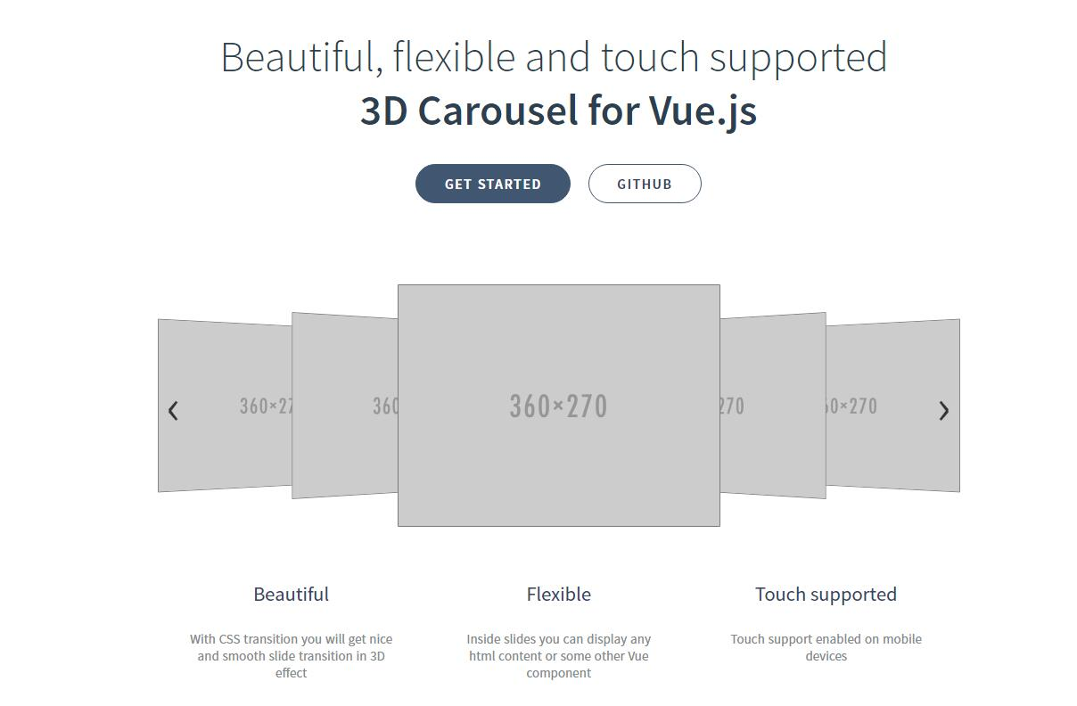 Beautiful and touch supported 3D Carousel for Vue.js