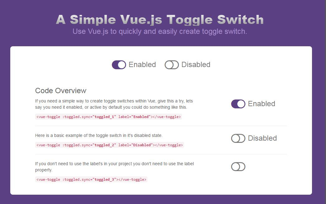 Bootstrap, Vue, Toggle Status Switch