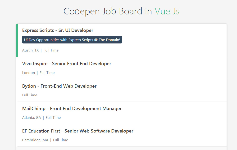 Codepen Job Board in Vue Js