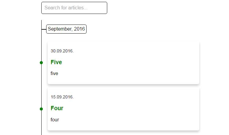 Vue 2.0 article timeline search