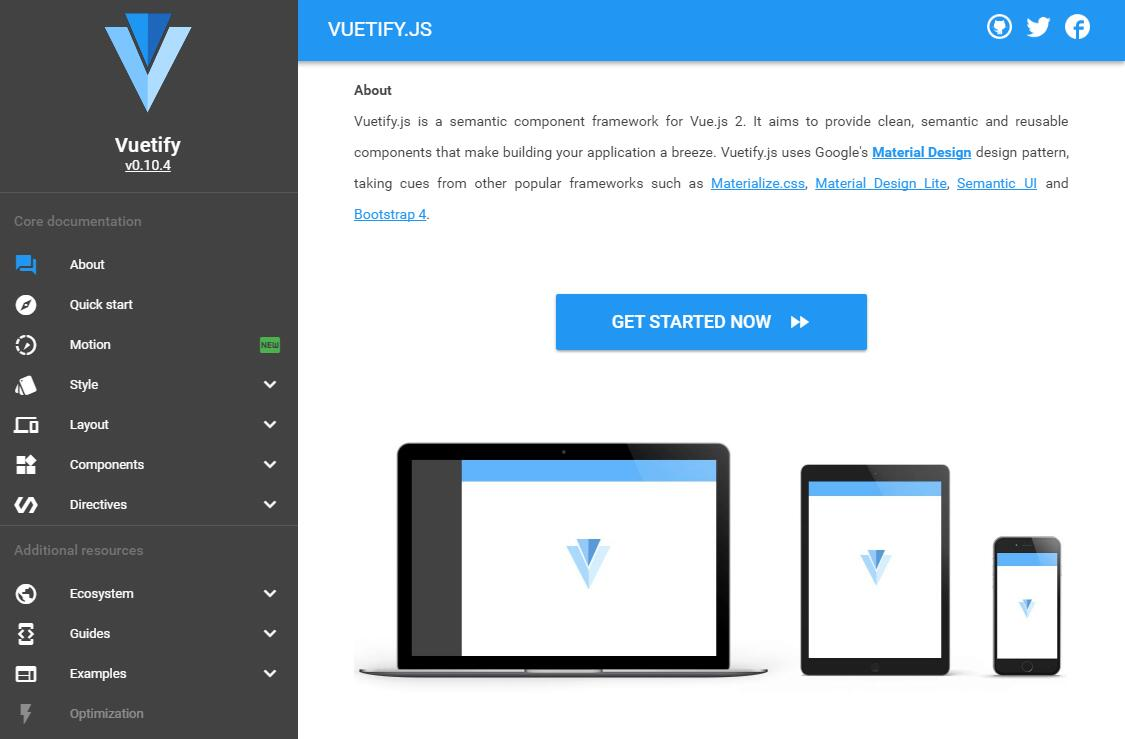 Vuetify : Material Component Framework for Vue js 2