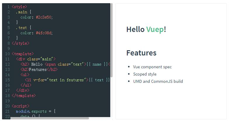 A component for rendering Vue components with live editor and preview