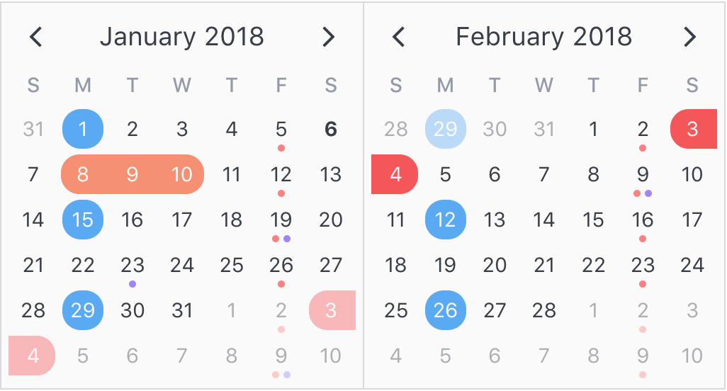 A clean and lightweight plugin for displaying attributed calendars