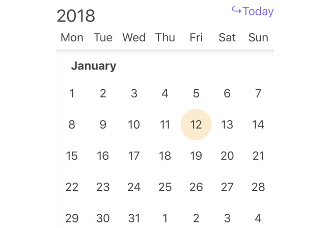 A simple infinite calendar component in Vue 2
