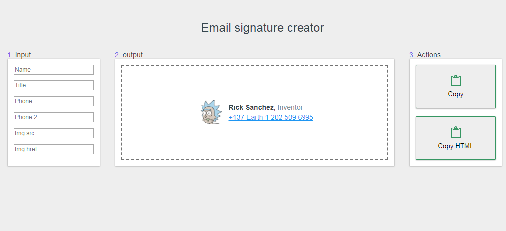 Email signature creator with vuejs