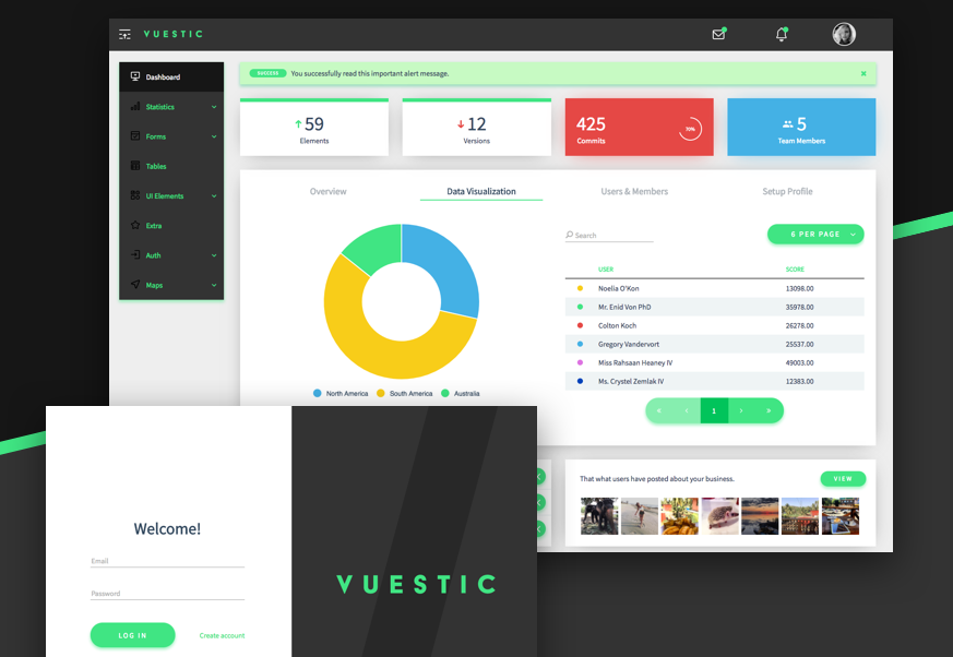 Responsive admin dashboard template built with Vue js and