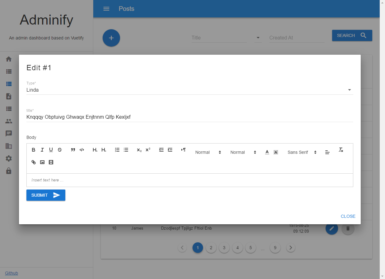 An Admin Dashboard based on Vuetify material