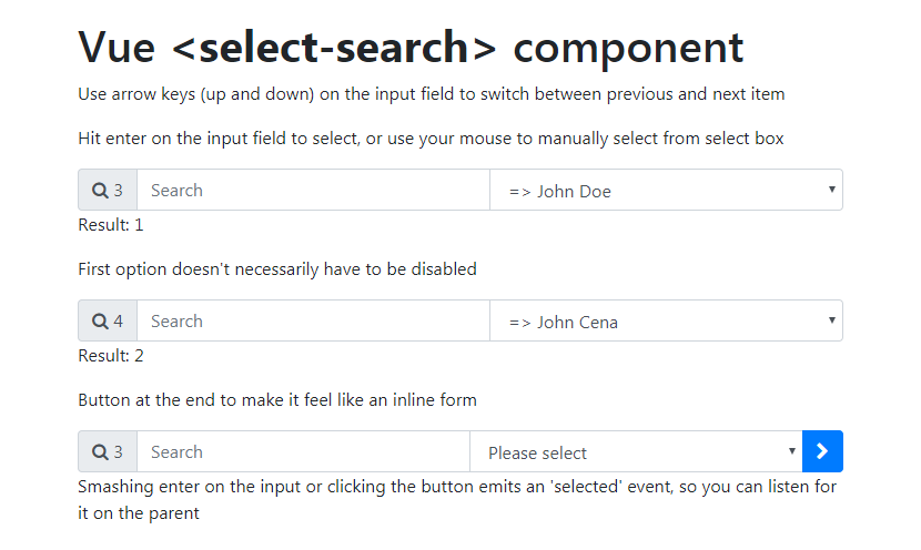 A component that allows you to search select options with vue