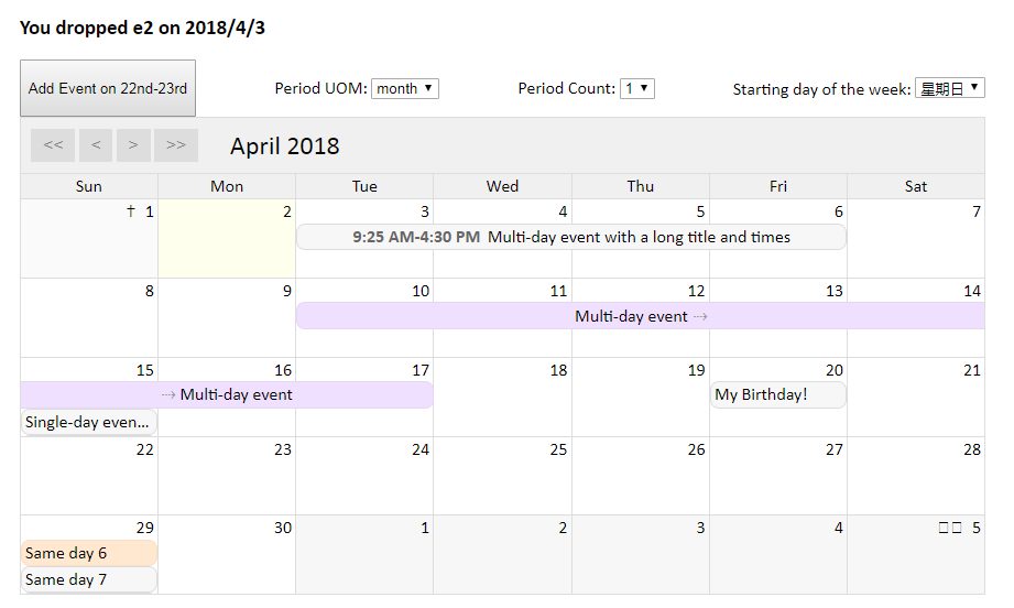 Simple Vue component to show a month-grid calendar with events