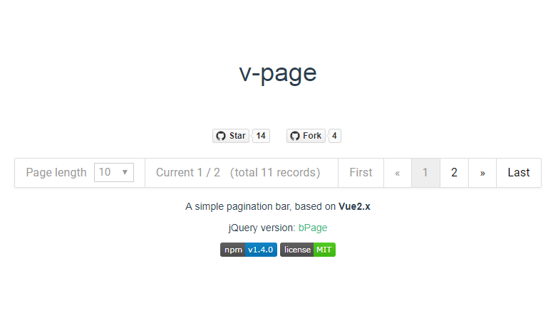 A simple pagination bar including length Menu
