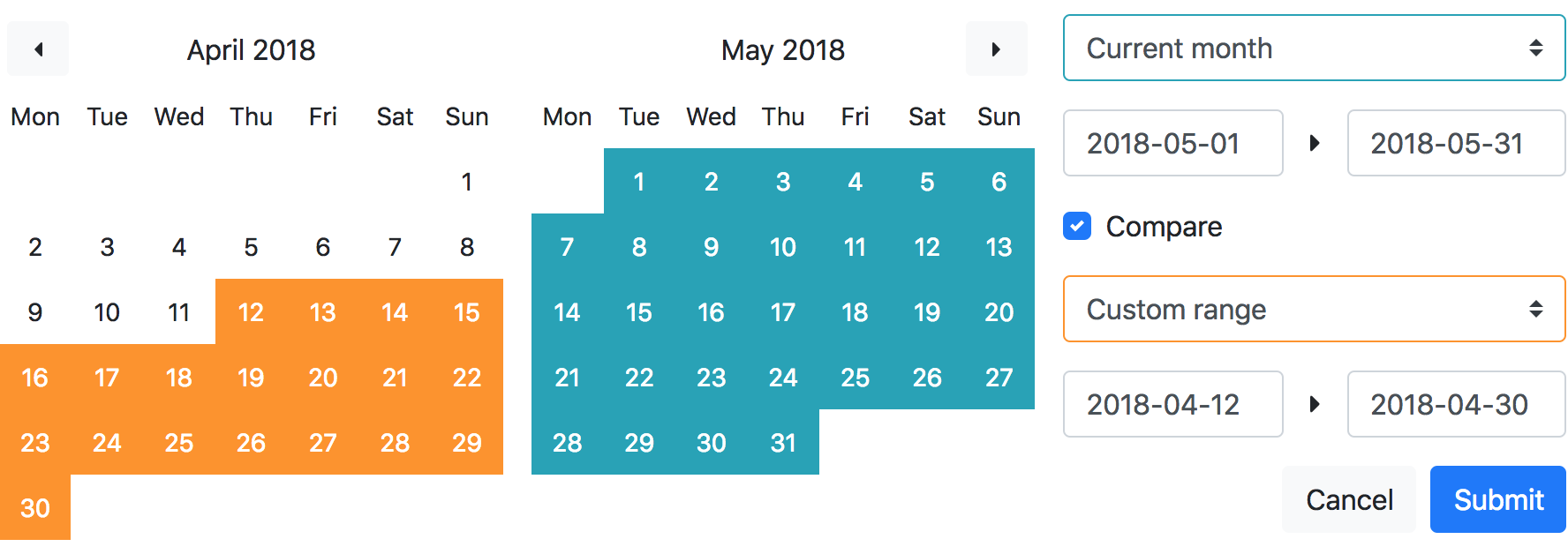 A vue component using Bootstrap 4 styles for date range selection