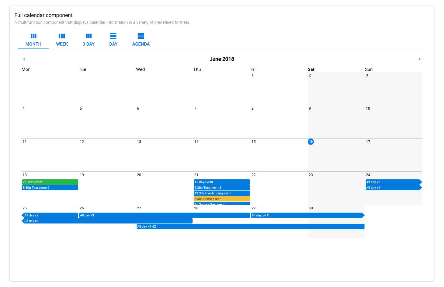A vue.js calendar using the Quasar framework that implements monthly and agenda views