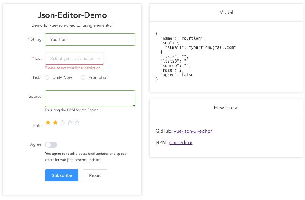 Edit JSON in UI form with JSON Schema and Vue.js