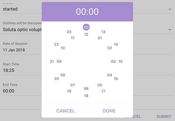 A simple clock picker component for vue2