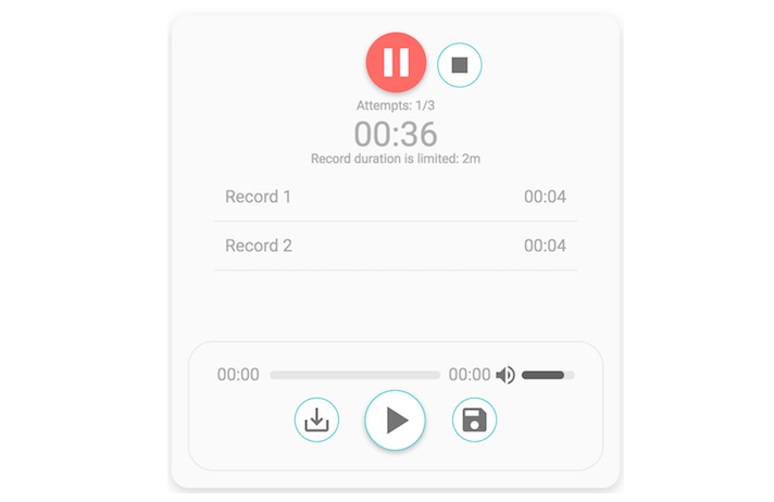 A simple audio recorder for VueJS applications