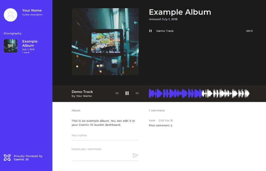Music website built with Vue.js and Cosmic JS