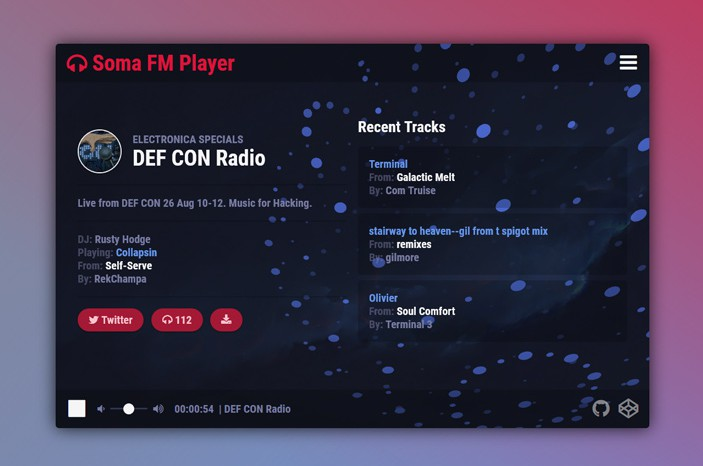 A Vue.js web application for streaming radio stations from Somafm
