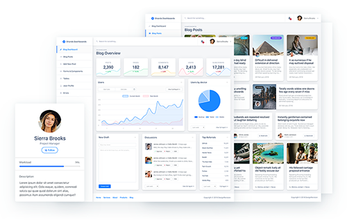A free Vue admin dashboard template pack featuring a modern design system