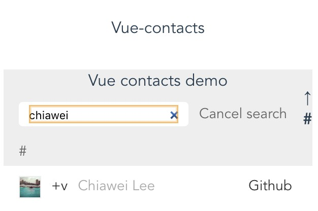 Mobile contacts component for Vue