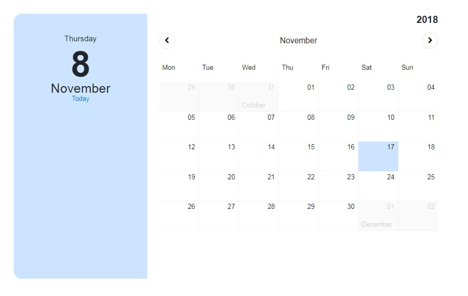 Simple calendar on vuejs and bootstrap 4