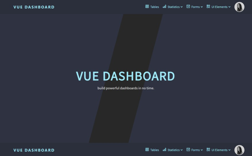 Responsive admin dashboard template with Vue.js