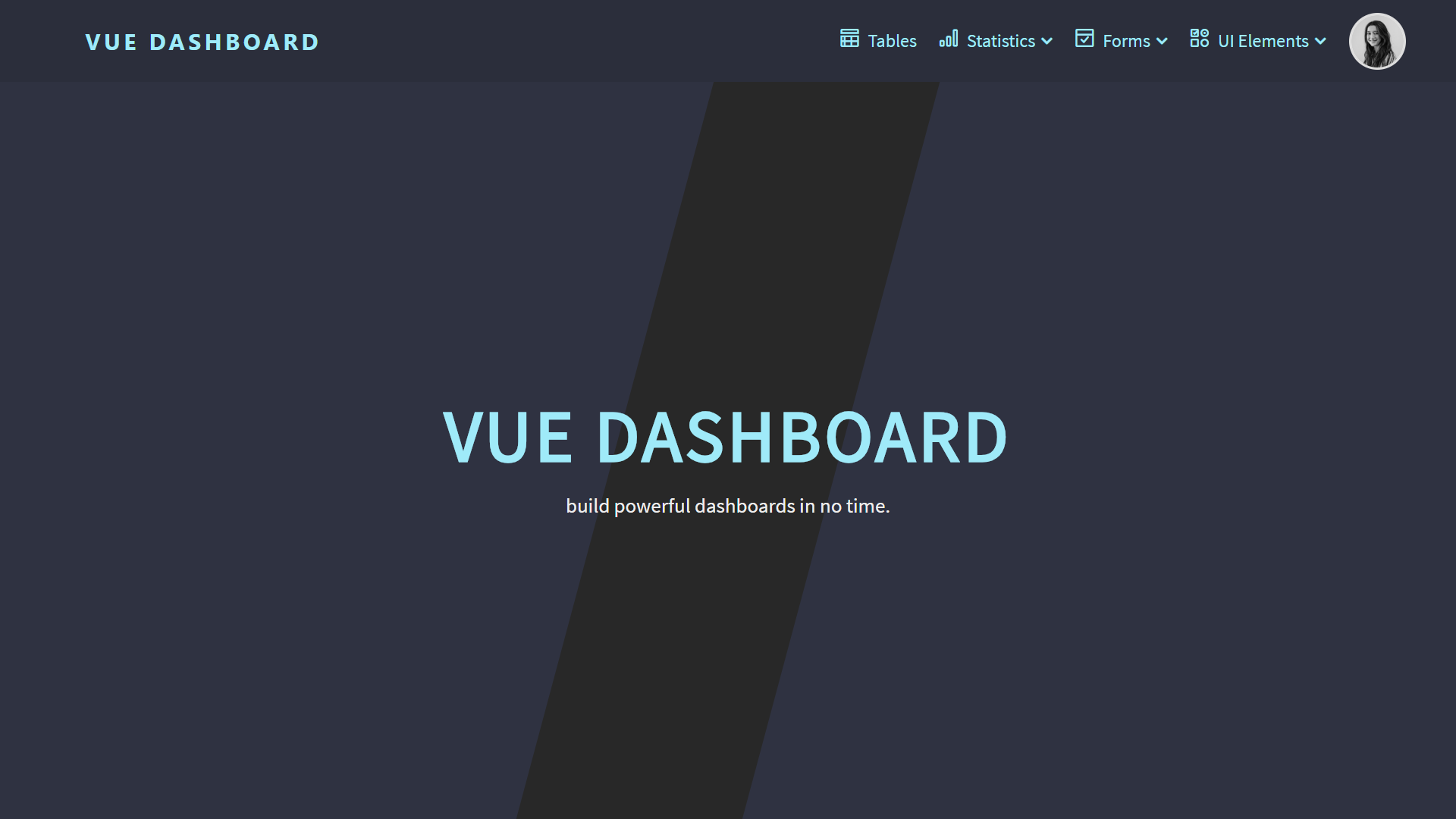 Responsive admin dashboard template with Vue js