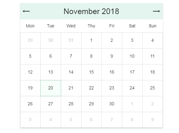 A Vue JS full calendar with no dependencies but Vue JS