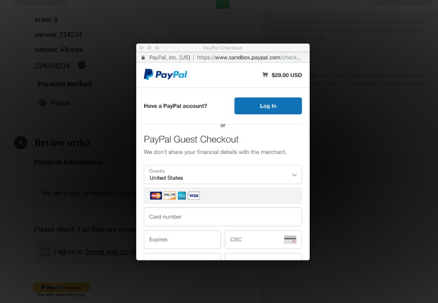 Paypal payment module for Vue Storefront