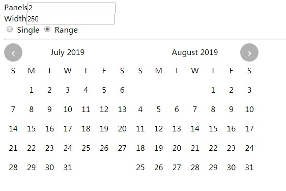 Clean calendar input with single date select