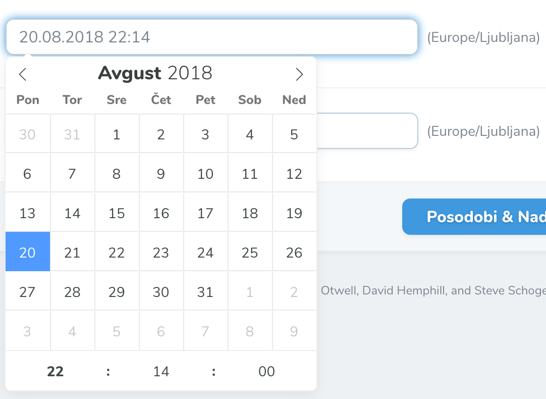 Slovenian datepicker for Laravel Nova
