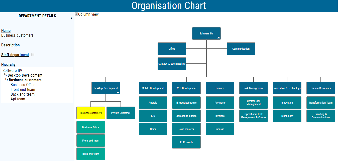Static website to manage and publish interactive organization chart