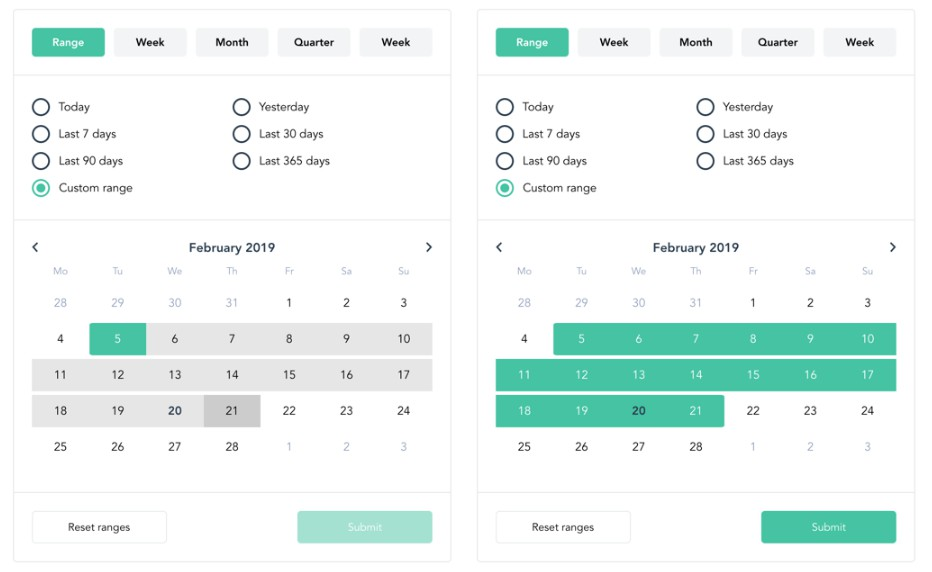 Vue.js date range picker with multiples ranges and presets