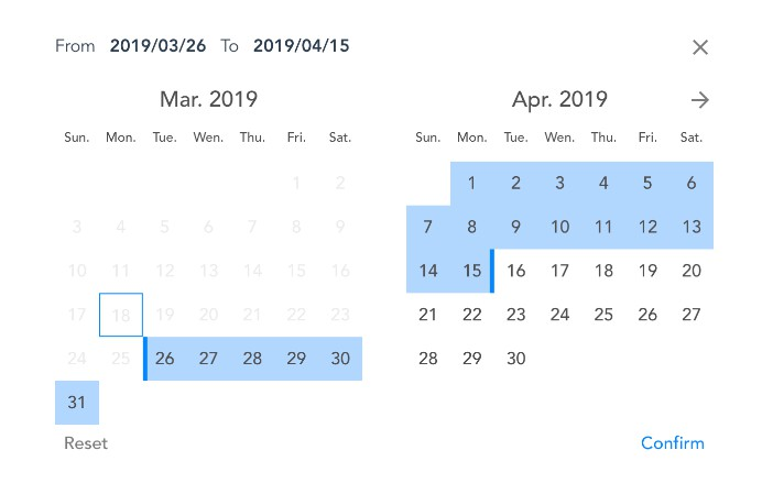 A Vue js date range picker for hotels and multi-purpose