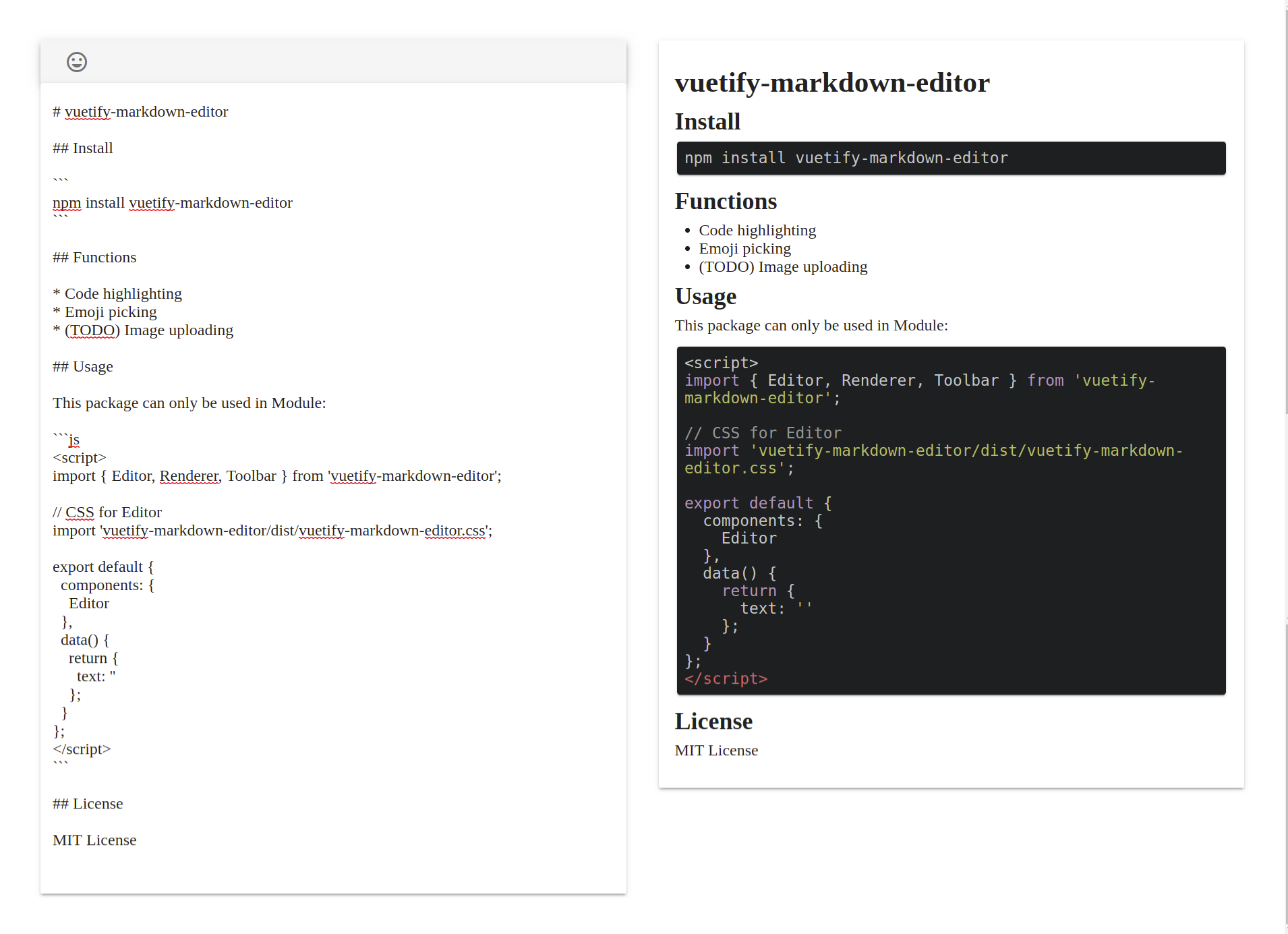 A Vue js Component for editing and previewing markdown