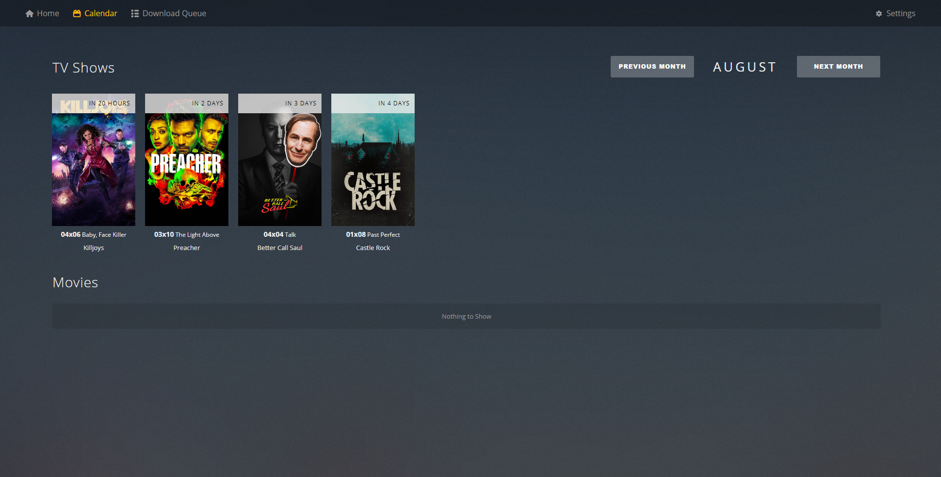 A Dashboard for showing information about a Plex