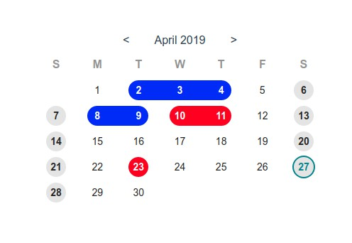 A simple and sweet vue.js calendar