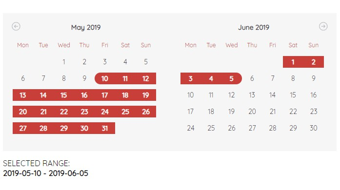 Simple and clean calendar written in Vue.js